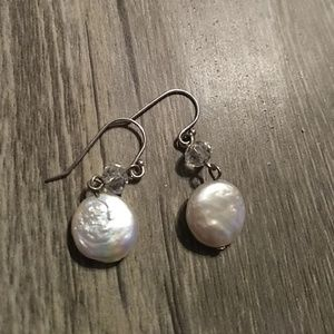 Genuine Pearl earrings with Austrian crystal accen